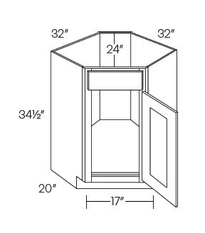 Diagonal Corner Sink Base Cabinets