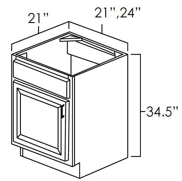 Vanity Sink Bases-Single Door Single Drawer Front