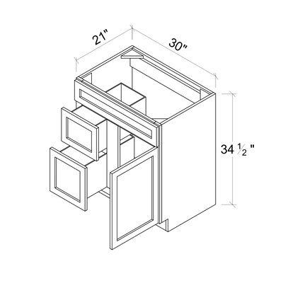 Sink Base Vanities - 1 Door 2 Drawer