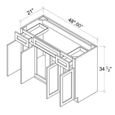 Sink Base Vanities - 4 Door 2 Drawer