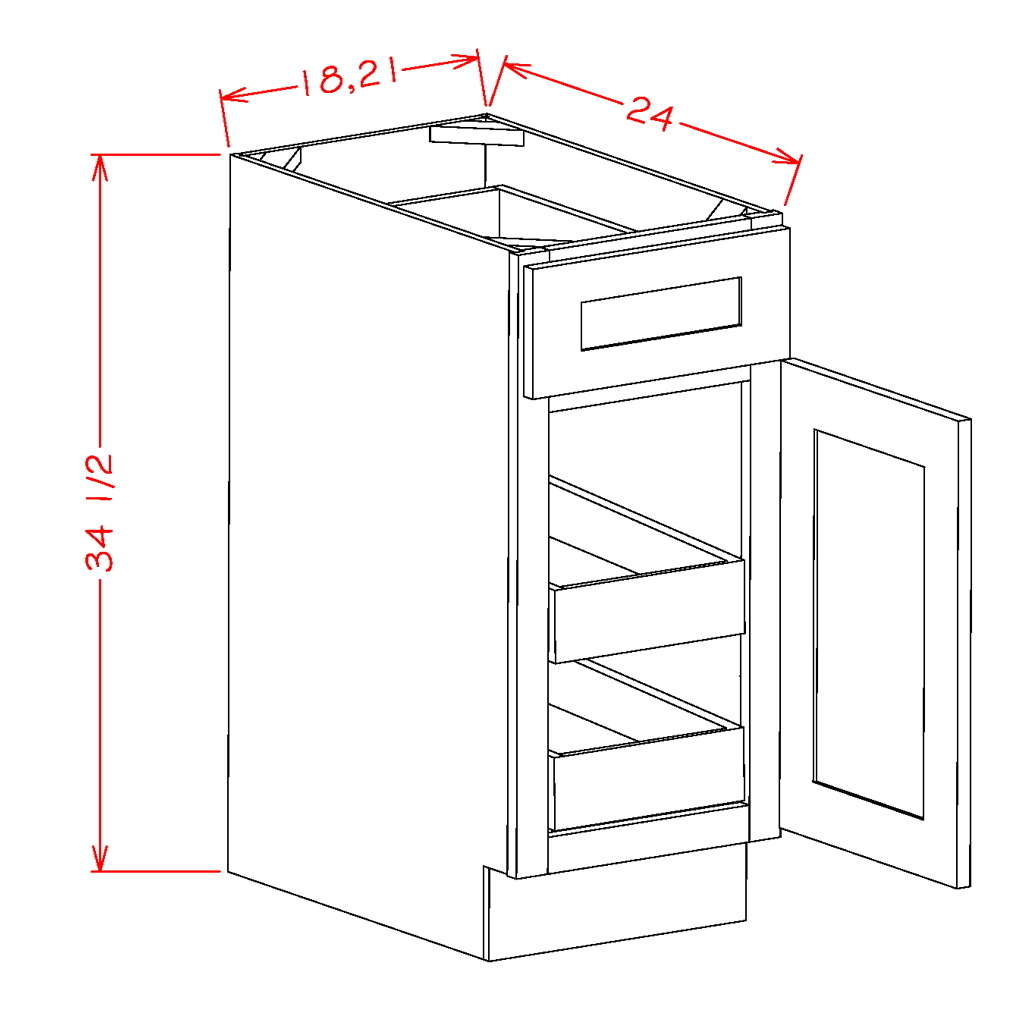 Single Door Double Rollout Shelf Bases
