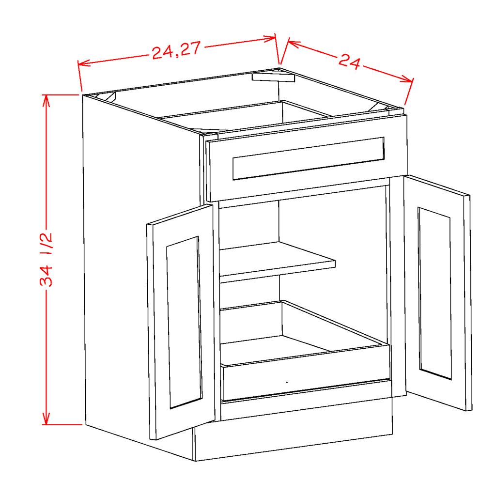 Double Door Single Rollout Shelf Bases