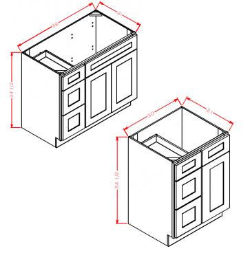 Vanity Combo Bases-Drawers Left