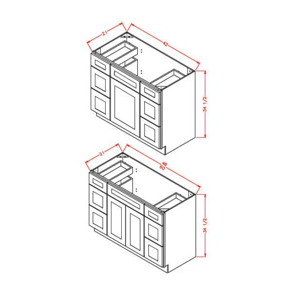 Vanity Double Drawer Base