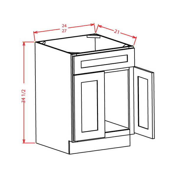 Vanity Sink Bases-Double Door Single Drawer Front