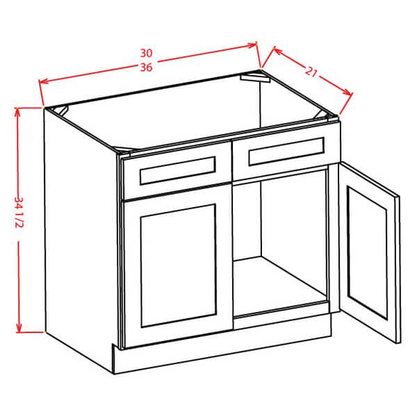 Vanity Sink Bases-Double Door Double Drawer Front