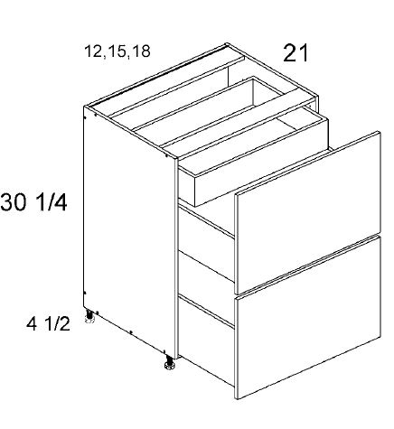 Two Drawer with One Inner Drawer Vanity Base
