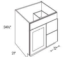 1 Door 2 Drawer Vanity Sink Base Cabinets