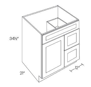1 Door 2 Drawer Vanity Sink Base Cabinet