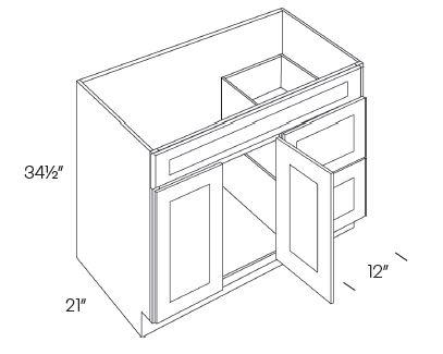 2 Door 2 Drawer Vanity Sink Base Cabinet