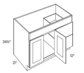 2 Door 2 Drawer Vanity Sink Base Cabinets