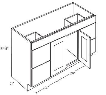 2 Door 4 Drawer Vanity Sink Base Cabinets