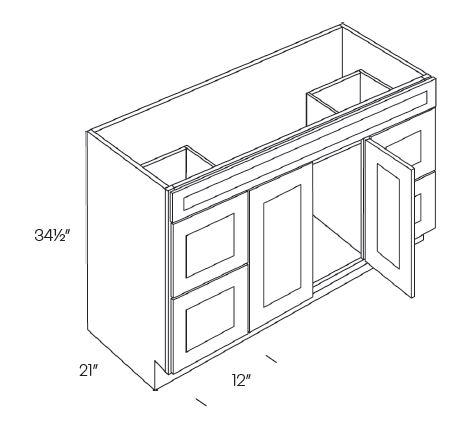 Double Door & Drawer Vanity Sink Base Cabinets