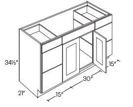 2 Sink Vanity Base Cabinets